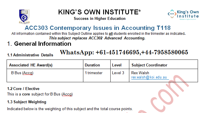 ACC303 Contemporary Issues in Accounting