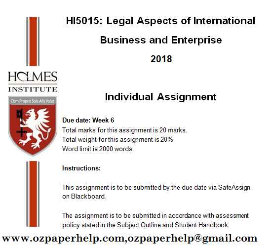 HI5015 Legal Aspects of International Business And Enterprise