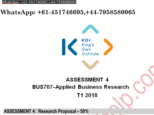 BUS707 Applied Business Research