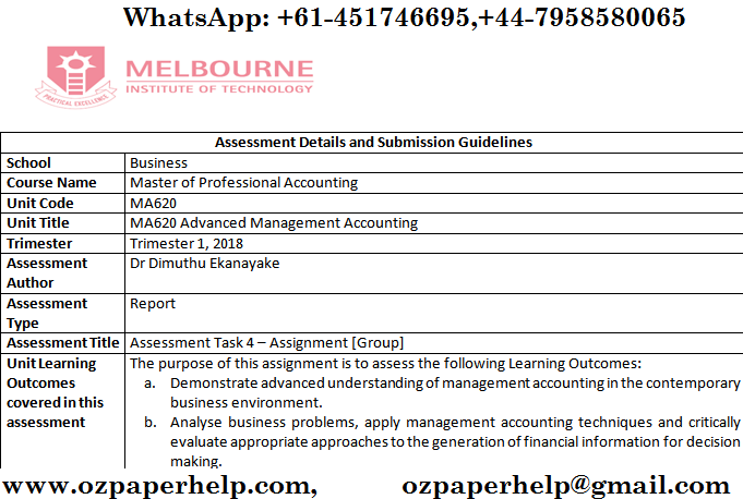 MA620 Advanced Management Accounting