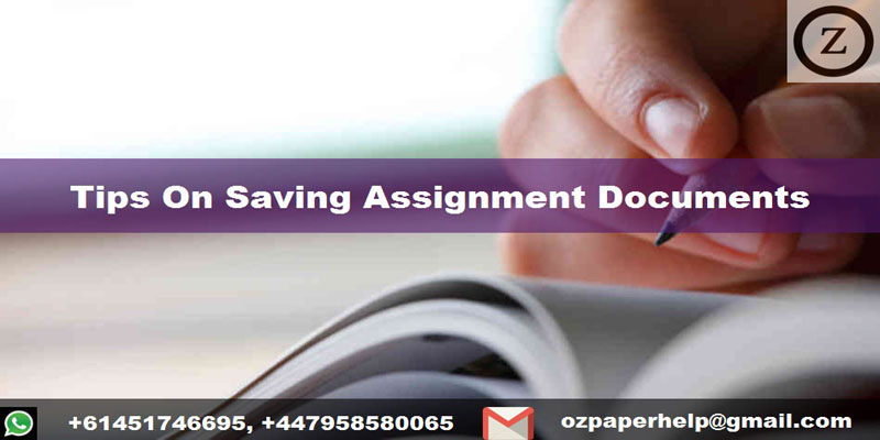 Tips On Saving Assignment Documents
