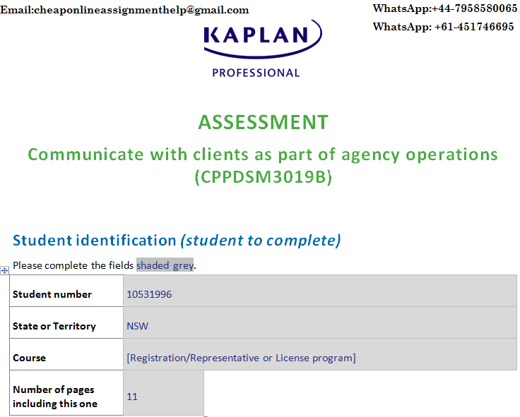 CPPDSM3019B Communicate With Clients As Part Of Agency Operations